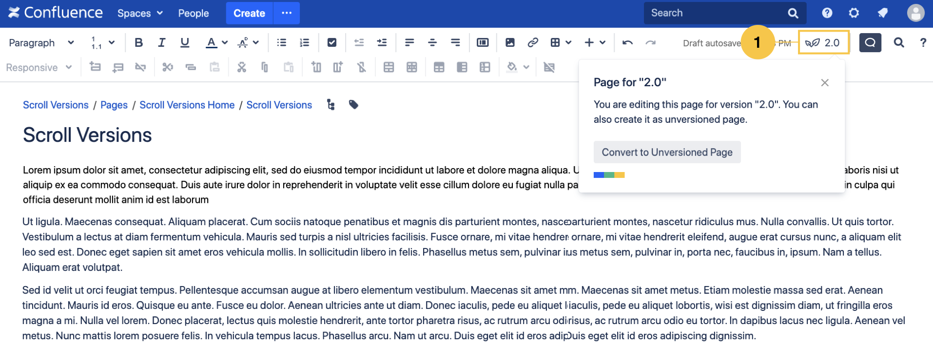 New Scroll Versions UI Elements in The Confluence Editor
