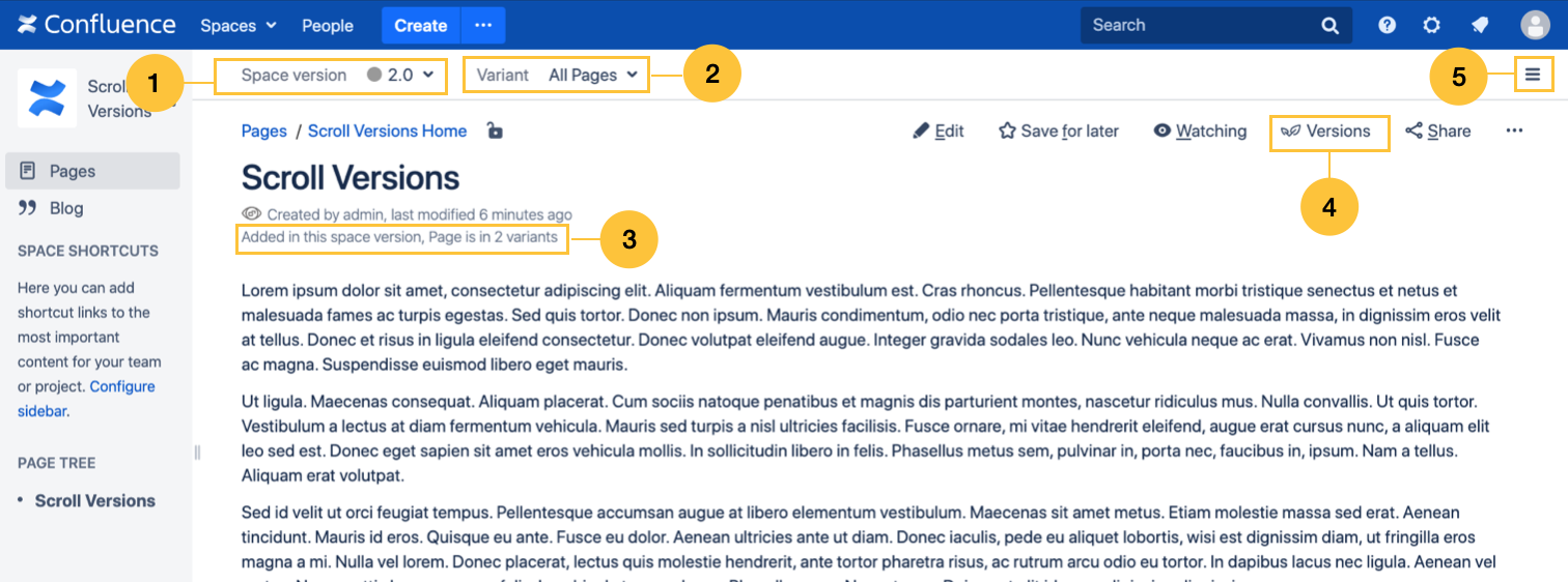 UI elements in Confluence page view